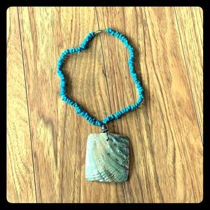 Jewelry - Stunning Abalone Shell Turquoise Necklace